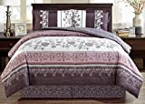 Black and Purple Comforter Sets Queen 4-Piece Fine printed Oversize Comforter Set Reversible Goose Down Alternative Bedding QUEEN Size (Purple. Grey, Black, White, Floral)