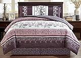 Black and Purple Comforter Sets Queen Grand Linen 4-Piece Fine Printed Oversize Comforter Set Reversible Goose Down Alternative Bedding Queen Size (Purple. Grey, Black, White, Floral)