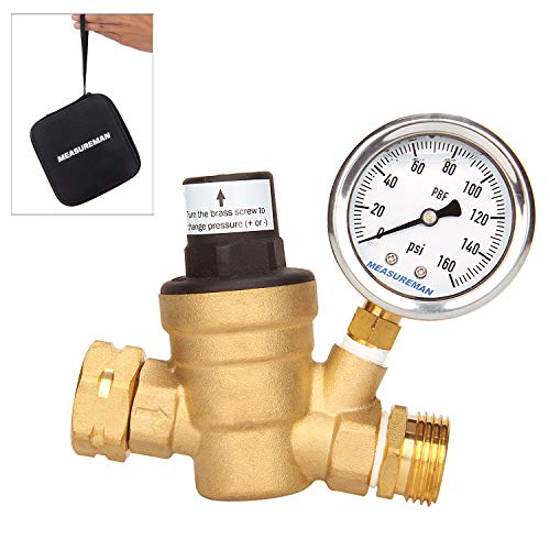 Measureman Adjustable Lead Free Brass RV Pressure Regulator