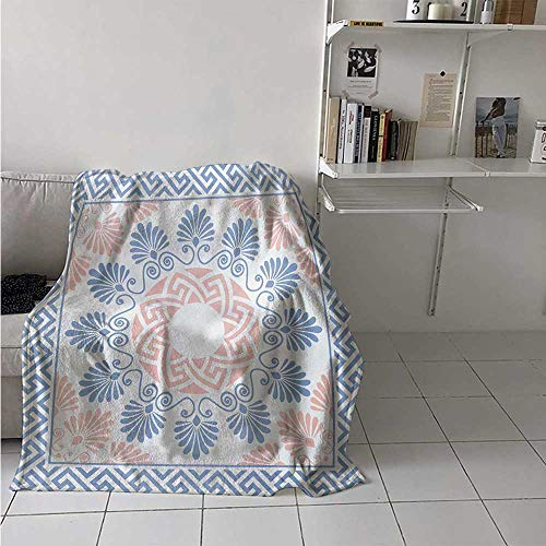 maisi Greek Key Warm Microfiber All Season Blanket Pastel Pink White and Blue Round Floral Grecian Fret Hellenic Ornament Print Artwork Image 60x50 Inch Baby Blue Blush White