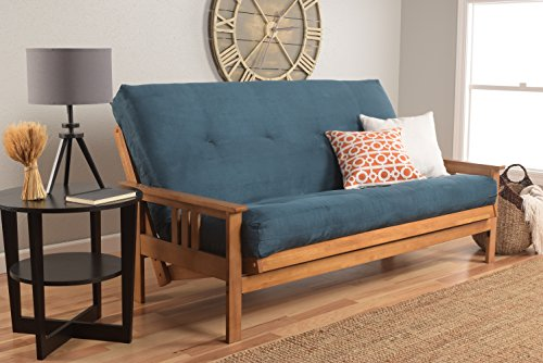 Monterey Full Size Futon Sofa Bed, Butternut Wood Frame, Suede Innerspring Mattress, Navy