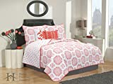5-Piece Quilt Set with Shams & Decorative Pillows. Super Soft Microfiber Material Featuring a Unique & Beautiful Printed Design. Filigree Collection By Home Fashion Designs. (Full/Queen, Coral)