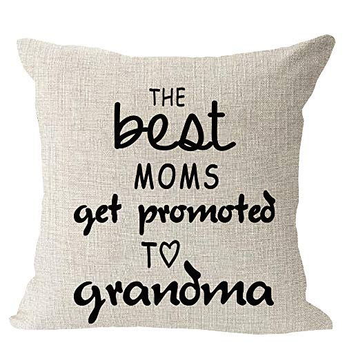 """Set of 2 Best Blessing Gift to Parents The Best Mom Dad Get Promoted to Grandma Grandpa Cotton Linen Square Throw Waist Pillow Case Decorative Cushion Cover Pillowcase Sofa 18""""x 18"""""""