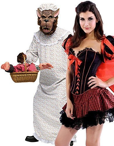 Couples Ladies & Mens Little Red Riding Hood & Big Bad Granny Wolf Fairy Tale Nightmare Halloween Fancy Dress Party Costumes Outfits (Ladies UK 10 & Mens STD) ()