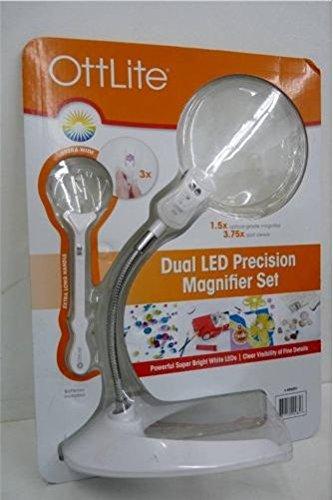 Ott Lite Magnifier - OttLite Dual LED Precision Magnifier Set