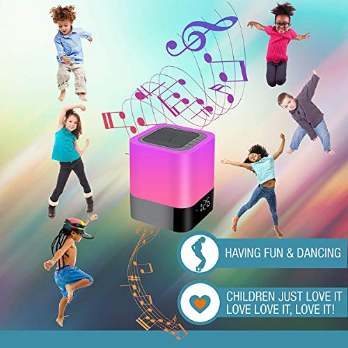 HOMPOT- Night Light Bluetooth Speaker, Touch Sensor Bedside Lamp Warm Light and Color Changing Alarm Clock, MP3 Player, USB, AUX, 4000mAh Battery Best Gift for Kids, Party, Bedroom, Outdoor. by HOMPOT (Image #8)