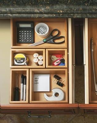Seville Classics 5-Piece Bamboo Storage Box Drawer