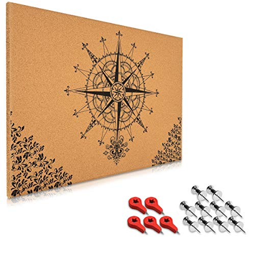 Cork Board Designs - Navaris Cork Bulletin Board - 27.6 x 19.7 inch (70 x 50 cm) Push Pin Memo Corkboard in Baroque Compass Design with Pins for Home Office