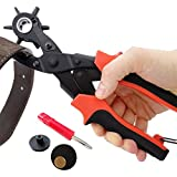 Leather Belt Hole Punch Pliers Heavy Duty Rotary Puncher 6 Sizes Holes Eyelet Pliers for Belts Watch Bands Dog Collars Saddles with Screwdriver Brass Pad