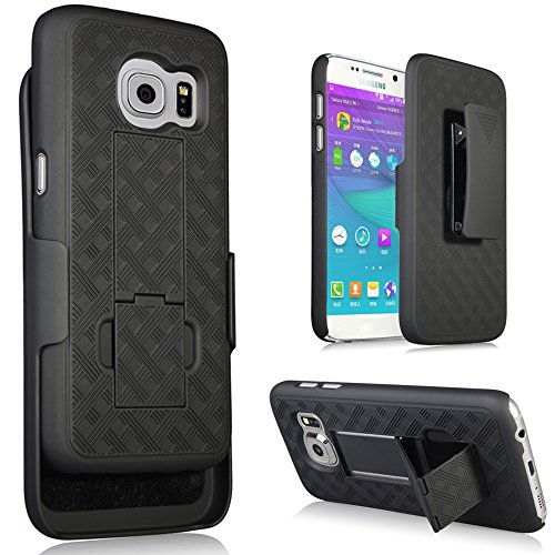 Galaxy S7 Case, Heavy Duty Samsung Galaxy S7 Belt Clip Case Super Slim Hard Shell Holster Clip Cover with Kickstand and Swivel Belt Clip for Galaxy S 7 Cell Phone Black