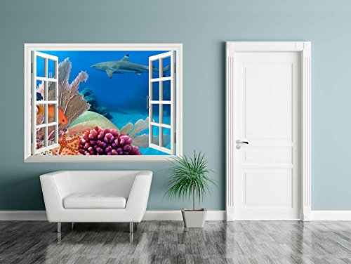 Removable Wall Sticker Wall Mural Beautiful Scenery of a Coral Colony in Red Sea Creative Window View Wall Decor