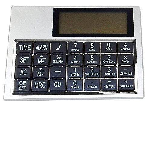 - Desk Clock/Multi-Function Calculator with World Time, Temp, Calendar, Alarm.