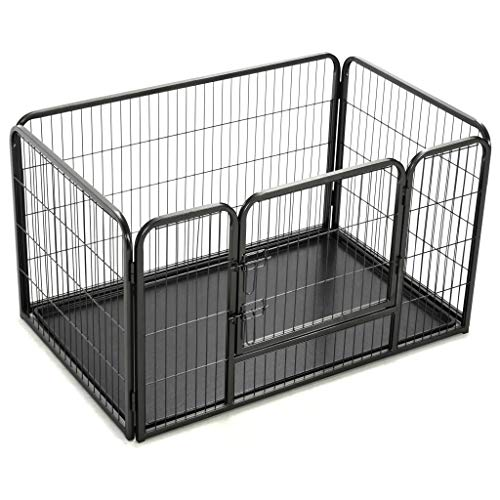 Festnight Dog Playpen Heavy Duty Steel Frame Exercise Cat Pet Run Kennel Cage House with Hinged Door Wire Fence Barrier for Puppy Cat Indoor and Outdoor Use Black