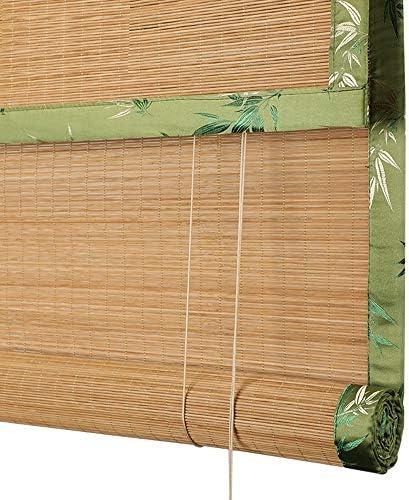 竹製ローラーブラインド、屋外屋内プライバシー遮光カーテン、日本のガゼボパーティション防水ローラーブラインド、手巻きエッジ、サイズはカスタマイズ可能ZDDAB