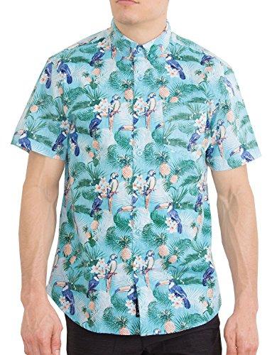 Hawaiian Hibiscus Shirt (Mens Hawaiian Shirt Short Sleeve Button Down Shirts (Parrot Flamingo, 2XL))