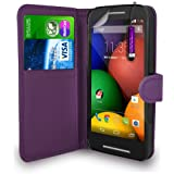 Motorola Moto E - Leather Wallet Flip Case Cover Pouch + Mini Touch Stylus Pen + Screen Protector & Polishing Cloth ( Dark Purple )
