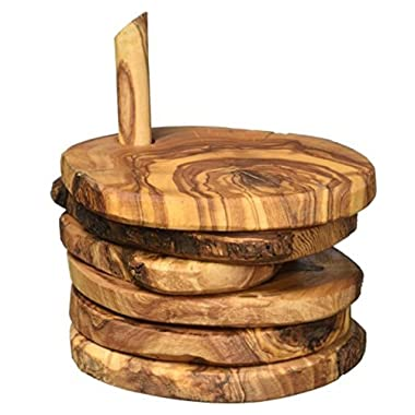 Naturally Med Olive Wood Rustic Coaster Set