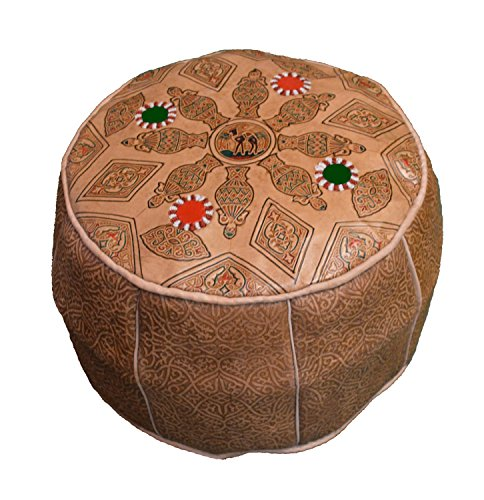 Moroccan Poofs Hand Made 100% Leather Ottoman Comfortable Round Design Foot Stool