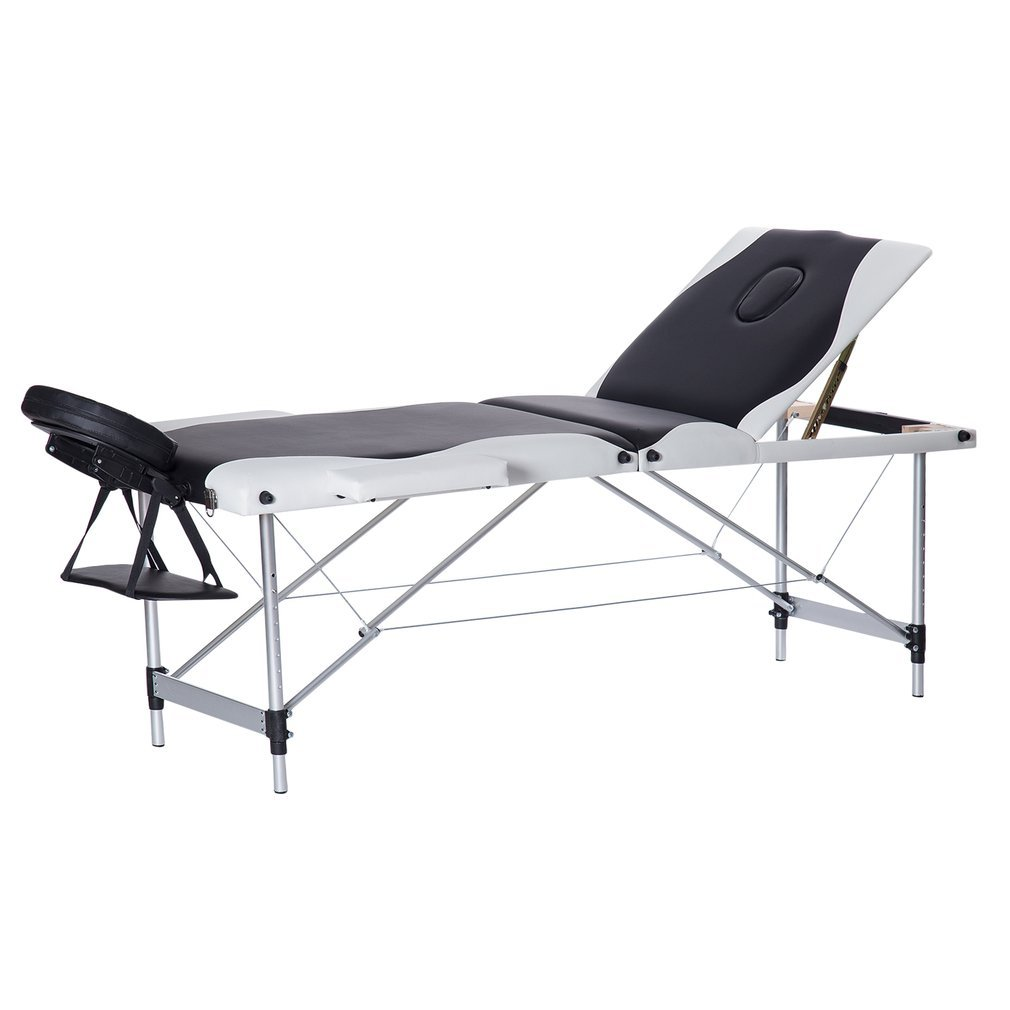 Homgrace Portable Massage Table 3 Fold Fold Aluminum Alloy Frame for Facial SPA Bed SPA Therapy Beauty Salon Black White