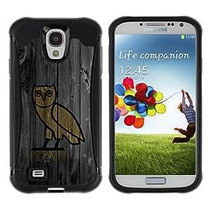 Be-Star único patrón Impacto Shock - Absorción y Anti-Arañazos Funda Carcasa Case Bumper Para SAMSUNG Galaxy S4 IV / i9500 / i9515 / i9505G / SGH-i337 ( Funny Minimalist Owl Eagle Wood )