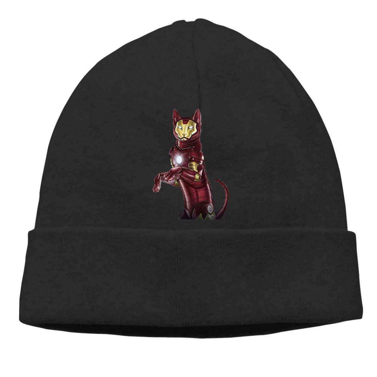 Iron Cat Unisex Cuffed Plain Skull Knitted Hat Beanie Cap Men Women Black