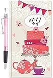 Arpan 2017 Slim Week To View Hardback Diary & Pen - White with Pink & Orange Flowers & Birds