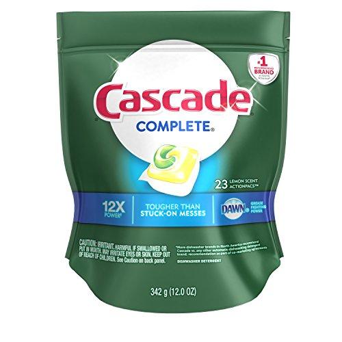 Cascade Complete Actionpacs Dishwasher Detergent, Lemon Scent, 23 Count