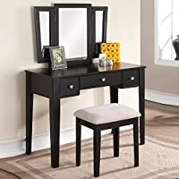 1PerfectChoice Tri Folding Mirror Vanity Makeup Dresser Table Stool Bench Set 3 Drawers Black