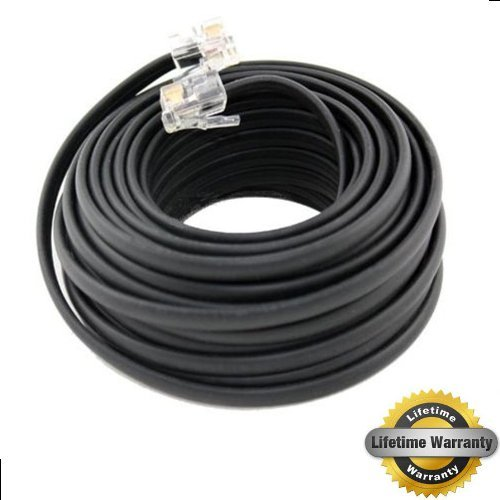Cables To Go Rj11 Jack - Bistras 100' Foot Black Telephone Extension Cord Cable Line Wire RJ-11