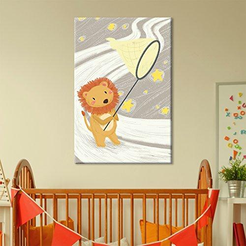 Cute Cartoon Animals A Lion Catching Stars with a Net Kid