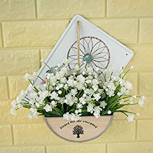 MARJON Flowers4 pcs Artificial Flowers Fake Outdoor Faux Plants Greenery Daffodils White Shrubs Plastic Bushes Indoor 2