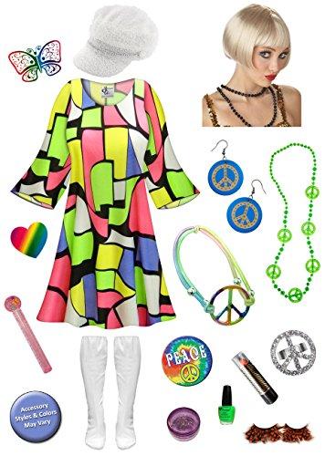 Glitter Gold Go Go Costumes (Cool Cat Gogo Dancer Plus Size Halloween Costume DLX Blonde Wig Kit 5x/Regular)