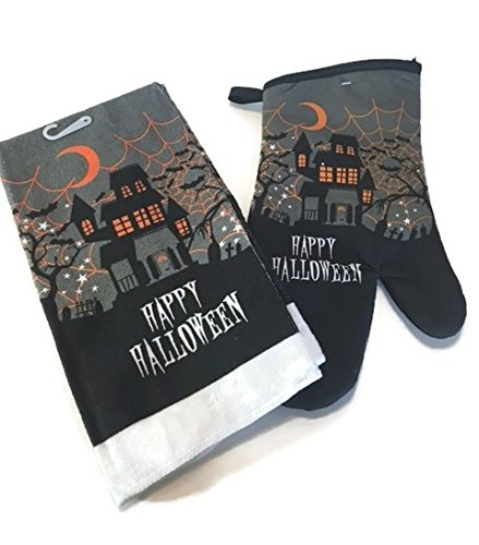 Happy Halloween Haunted House Cementery Theme Design Kitchen Set. The Bundle Includes : Towel and An Oven (Halloween Haunted House Themes)