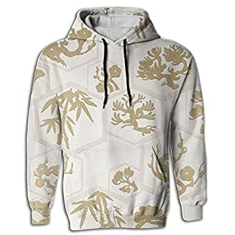 Paskcc Men's Hoodie Hip Hop Tops Shirt Coat Printed Bonsai Tree Japanese Gymnast
