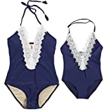 Mother Girl Swimwear Mommy and Me Swimsuit Halter Lace Deep V Neck Bathing Suit Mom and Daughters Swimwear Monikini (Navy Blue (mom), M)