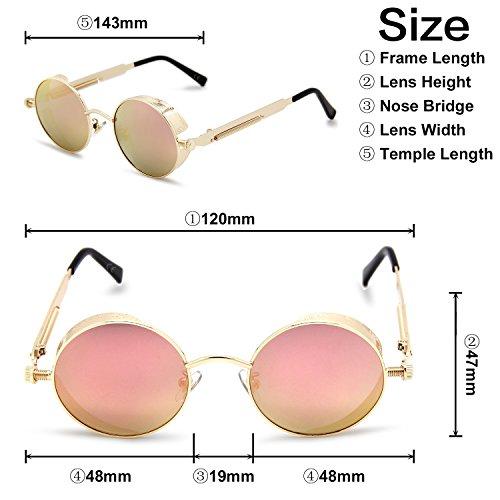 gafas polarizadas Rosa efecto para reflectante de las pequeño amp; amztm y mujeres lente Espejo sol redondo hombres wH0v1qa