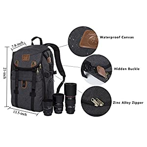 "Camera Backpack,DIGIANT 21"" x 7.8"" x 13.5"" DSLR Backpack, Large Canvas Camera Bag with Rain Cover for Cameras/Lenses/Laptop/Tablet & Photography Accessories"