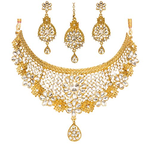Bindhani Women's Indian Jewelry Wedding Party Wear Bridal Bridemaids Antique Crafted Gold Tone Choker Kundan Necklace Earrings Tikka Set Designer Bollywood Style Jewellery Tika Set