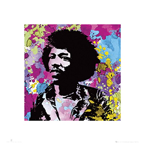 Jimi Hendrix Paint Splash Colors Psychedelic Classic Rock Music Poster Print 16x16
