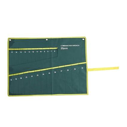 Gr/üne Farbe Set Schraubenschl/üssel Taschen Multi-Tasche Leinwand Aufrollen Werkzeuge Aufbewahrungstasche Spanner Zangenschl/üsselhalter Veranstalter 04