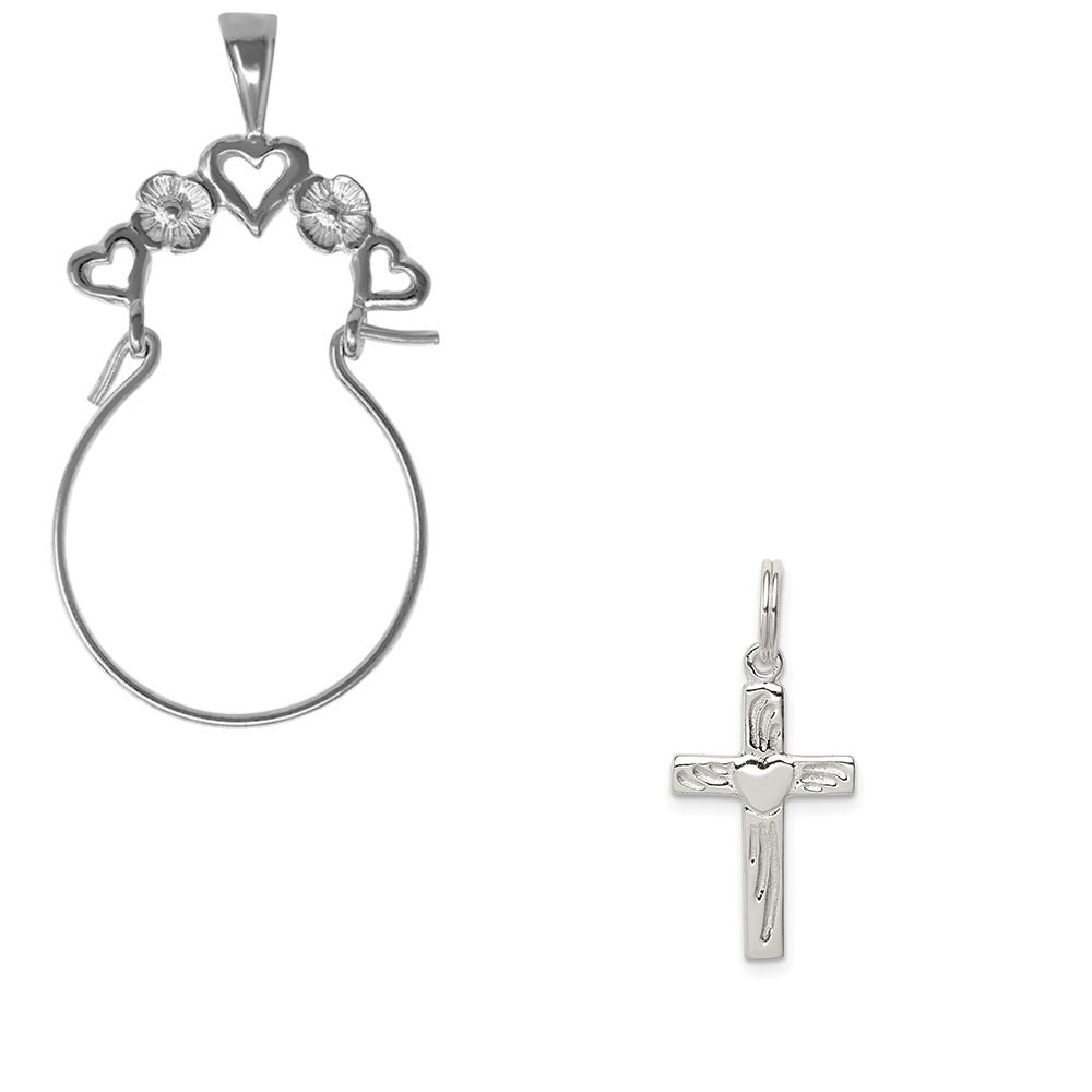 Mireval Sterling Silver Latin Cross Charm on an Optional Charm Holder