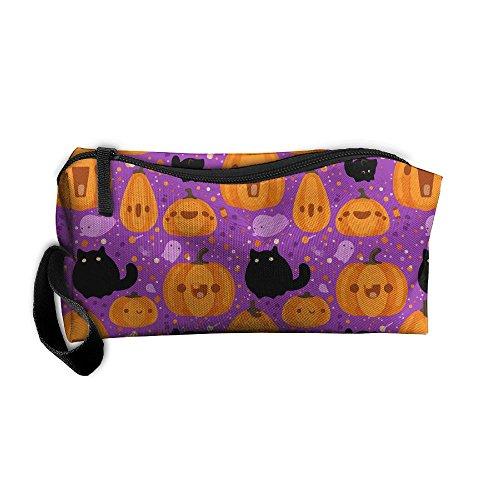 Hong Yi Fang Portable Toiletry Bag Storage Bags Halloween Pumpkin Print Clutch Cosmetic Bag