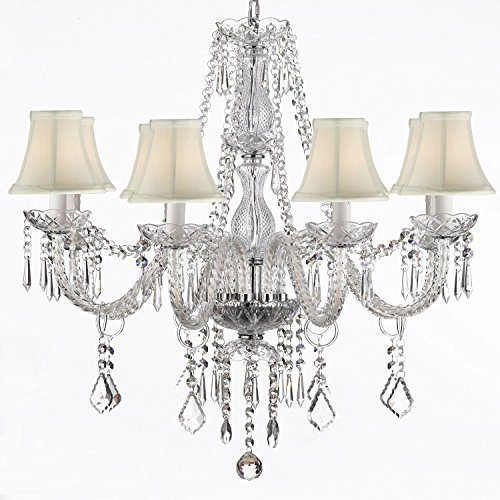 Crystal Chandelier Lighting 28ht X 28wd 8 Lights Fixture Pendant Ceiling Lamp White Shade Free Shipping Review