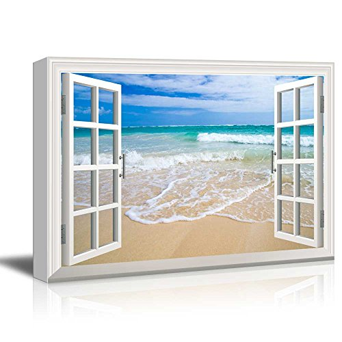 Print Window Frame Style Wall Decor Beach and Clear Wave Stretched