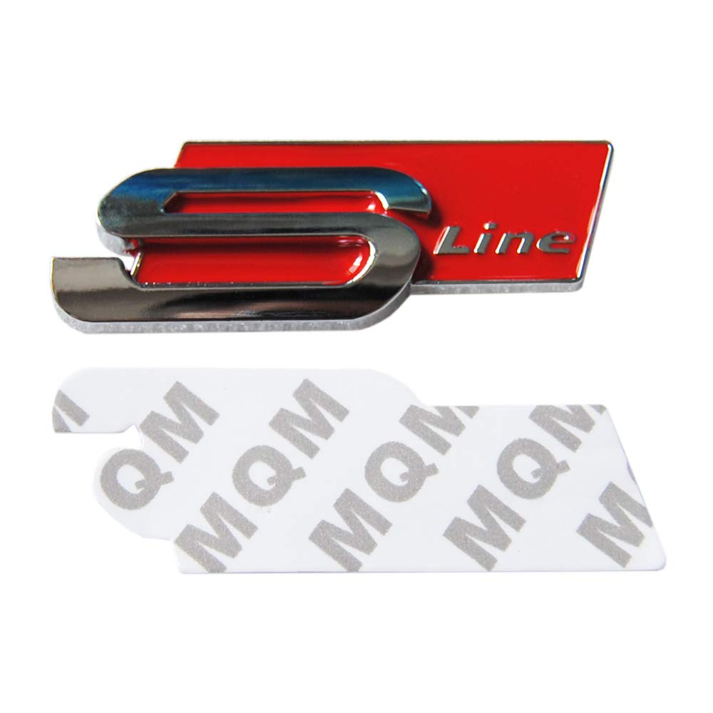 3D Metal Car Sticker Sline S Line Side Fender Rear Trunk Badge Emblem Decal for Audi A1 A3 A4 A6 S3 Q3 Q5 S5 S4 S6 S8 TT RS4 Q7 Rouge