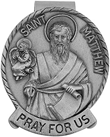 Pray for Us Inscribed 2 Long St. Anne VILLAGE GIFT IMPORTERS Genuine Pewter Visor Clip