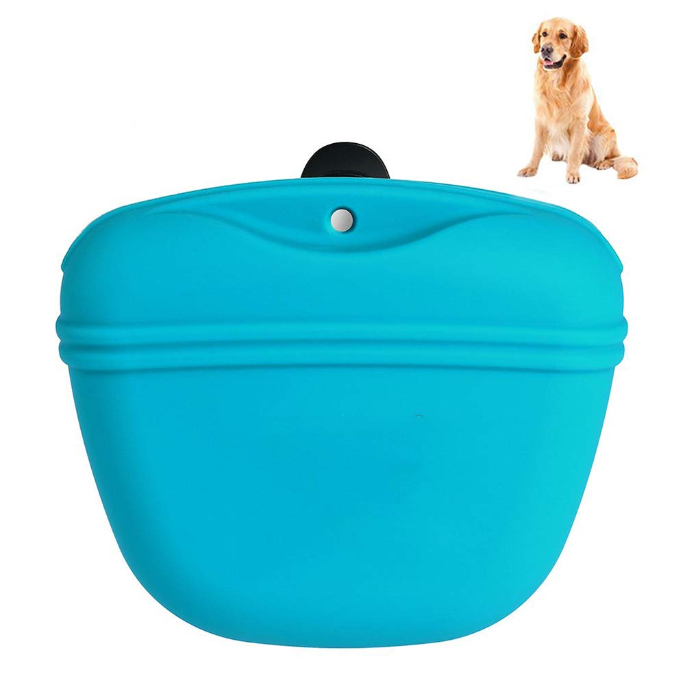 Dog Treat Bag Silicone Dog Training Bag Portable Dog Treat Pouch with Magnetic Closing and Waist Clip, Made of Food Grade Memory Silicone