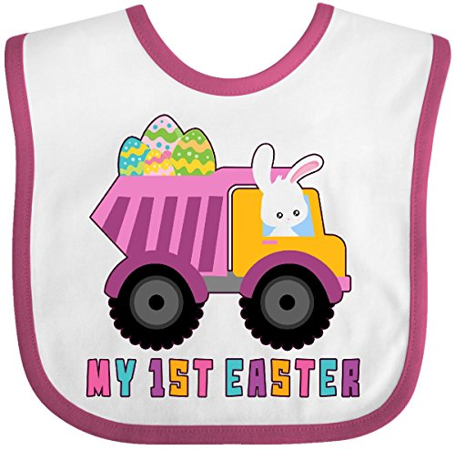 Easter Bib (Inktastic - My 1st Easter Bunny Delivering Easter Eggs Baby Bib White/Raspberry)