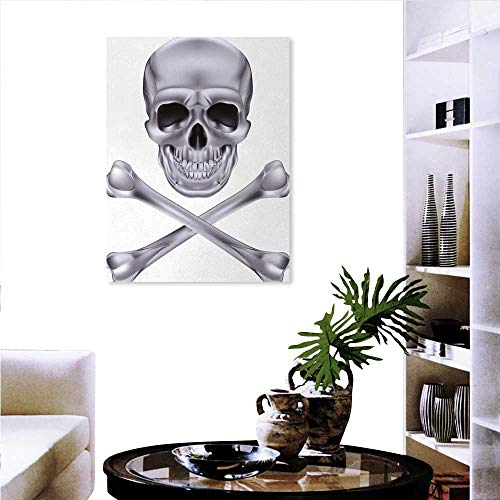 Warm Family Silver Art Stickers Vivid Skull Crossbones Dangerous Scary Dead Skeleton Evil Face Halloween Theme Canvas Wall Art Bedroom Home Decorations 20