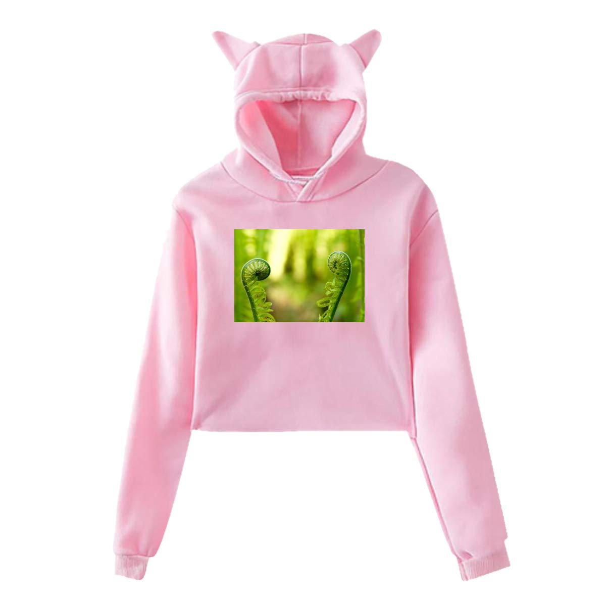 Personality Leaf Girl Cat Ears Umbilical Hoodie,Leaf Fashion Sweatshirt Sweater Pink